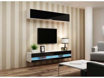 Obývací stěna VIGO NEW X bílá / černý lesk