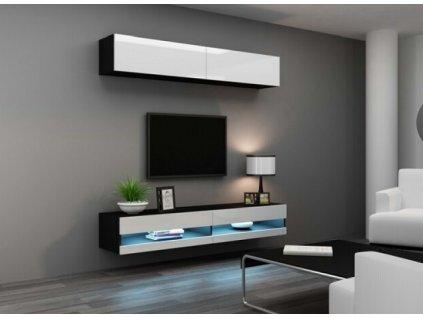 Obývací stěna VIGO NEW X černá / bílý lesk