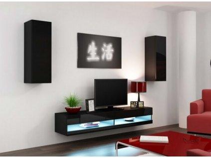 Obývací stěna VIGO NEW X černá / černý lesk