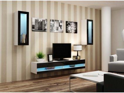 Obývací stěna VIGO NEW XI bílá / černý lesk