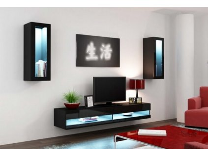 Obývací stěna VIGO NEW XI černá / černý lesk