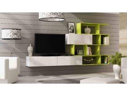 Obývací stěna VIGO XVI NEW bílý mat/bílý lesk/limetka