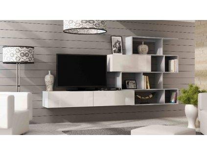 Obývací stěna VIGO XVI NEW bílý mat/bílý lesk/šedá