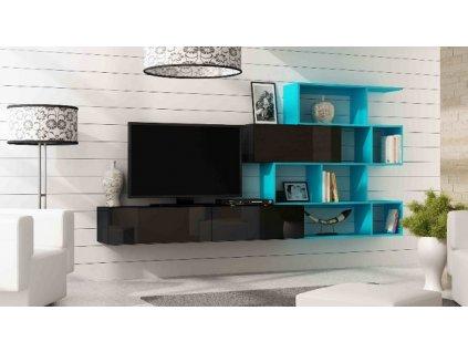 Obývací stěna VIGO XVI NEW černá mat/černý lesk/světle modrá
