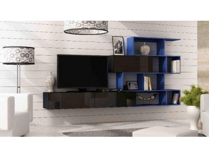 Obývací stěna VIGO XVI NEW černá mat/černý lesk/tmavě modrá
