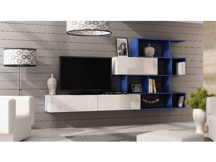Obývací stěna VIGO XVI NEW bílý mat/bílý lesk/tmavě modrá