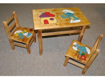 Dětský stoleček AD 232 s motivy - masiv  (bez židliček)