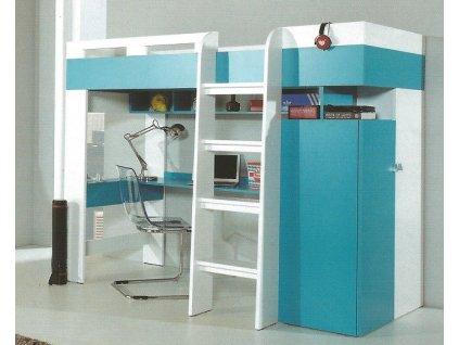 Vyvýšená postel MOBI MO20 s PC stolkem (Poly)