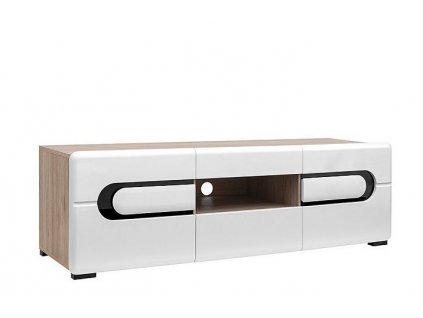Televizní stolek BYRON RTV2D2S/5/15 Dub san remo světlý/Bílý lesk