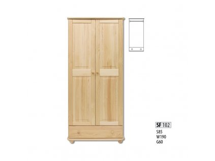 Skříň dřevěná SF 102 borovice masiv