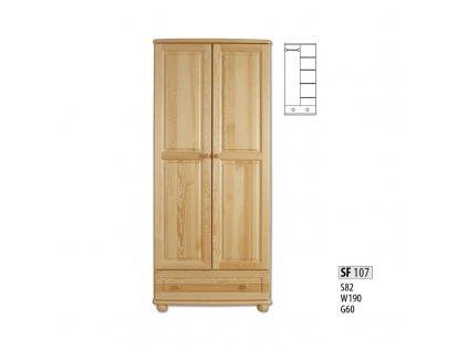 Skříň dřevěná SF 107 borovice masiv