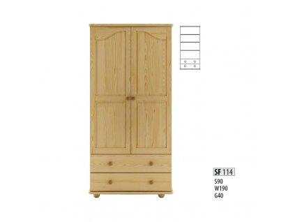 Skříň dřevěná SF 114 borovice masiv