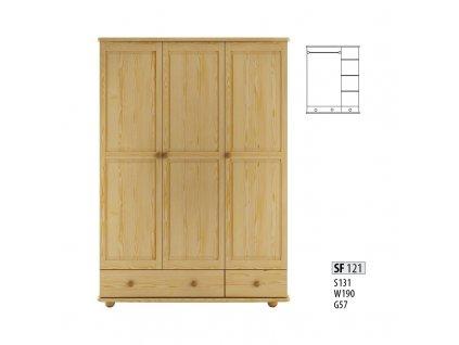 Skříň dřevěná SF 121 borovice masiv