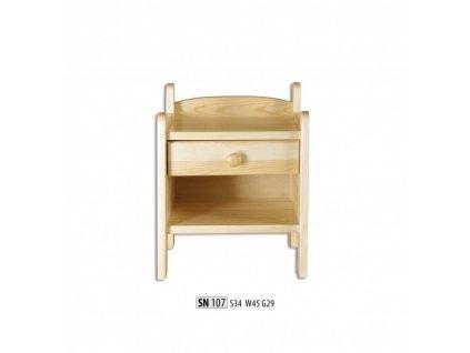 Noční stolek SN 107 masiv borovice
