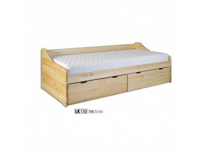 Jednolůžková postel s úložným prostorem LK 130 masiv borovice