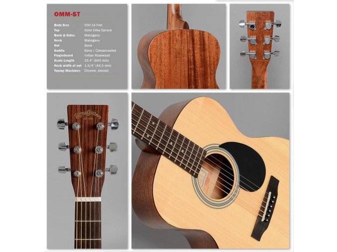 SIGMA OMM-ST, akustická kytara VÝBĚR, masiv, sitka, hmatník 44,5 mm