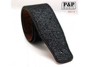 P&P MUSIC S517AB řemen koženkový black sparkle, černý