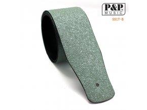 P&P MUSIC S517B řemen koženkový black sparkle, stříbrný