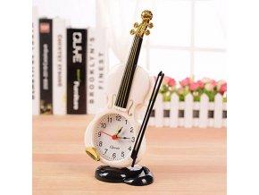 Dárkový předmět ZK1568001 - Stolní hodiny ve tvaru houslí s budíkem - bílé