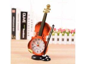 Dárkový předmět ZK1568002 - Stolní hodiny ve tvaru houslí s budíkem - hnědé