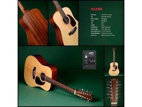 SIGMA DM12E, 12-ti strunná elektro-akustická kytara VÝBĚR, masiv, sitka