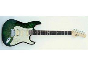 SIVCAK VSS vintage strat, elektrická kytara HSS, jasan + javor, zamykací mechanika Schaller, zelená, VČ 049513