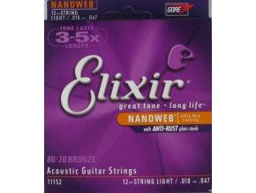 ELIXIR 11027 NANOWEB 11/52 struny kytara 80/20 BRONZE