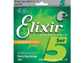 ELIXIR SET struny na 5-strunnou baskytaru 45-125