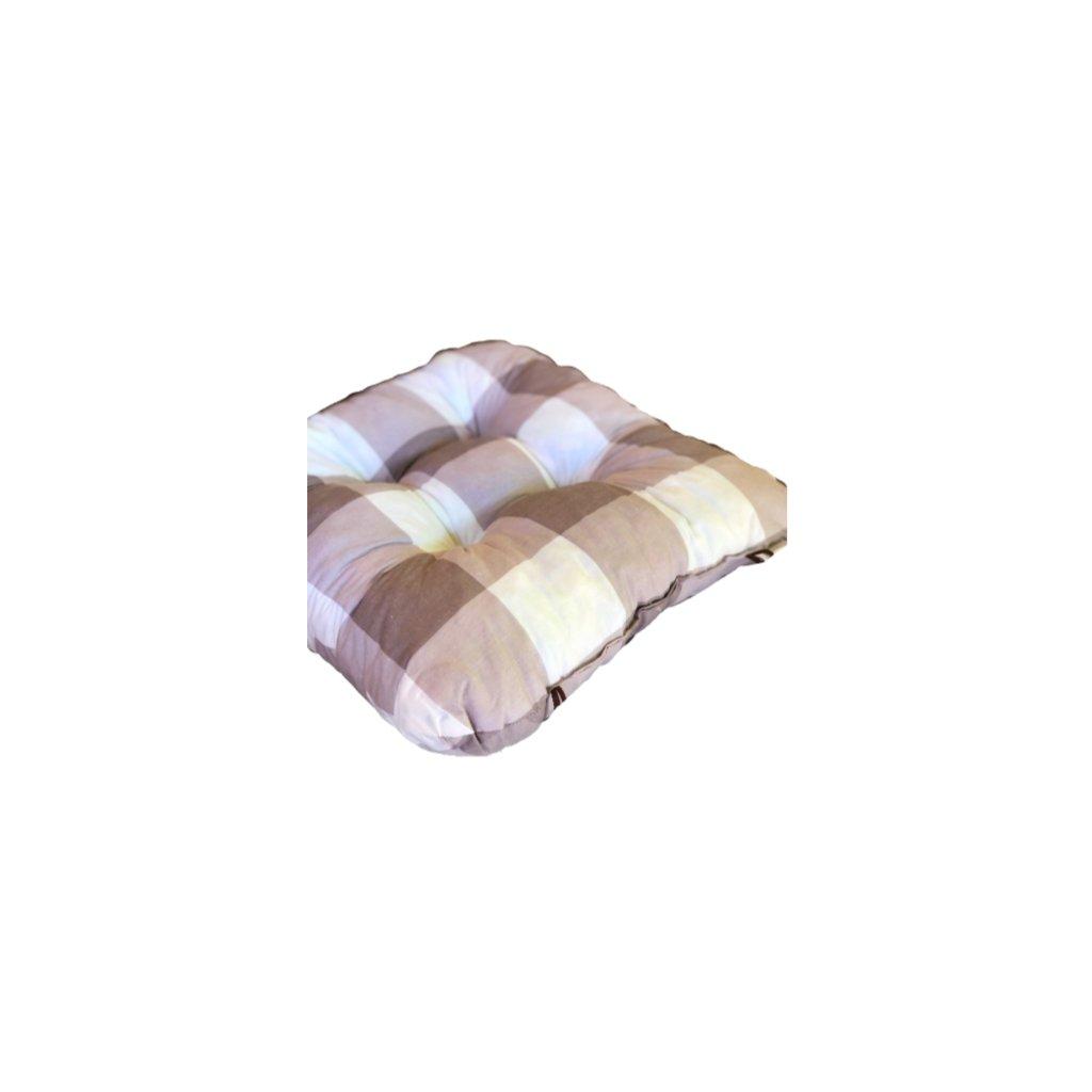Podložka na stoličku - Hnedá kocka