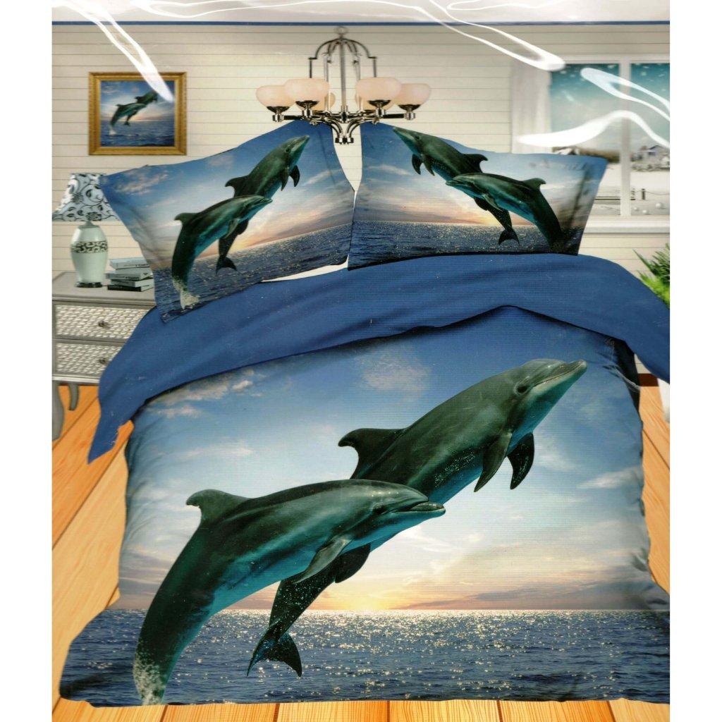 TOP 3D obliečky 3 alebo 7-dielne Delfín