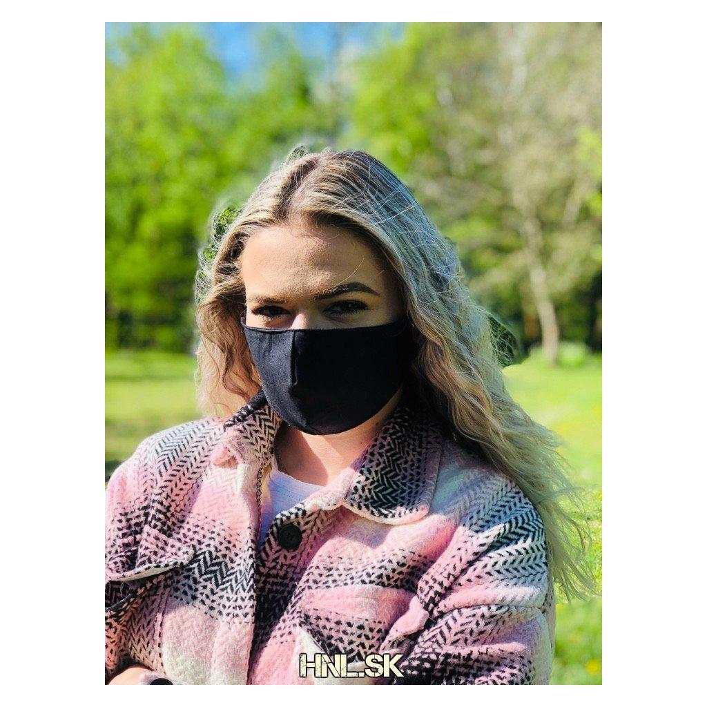 Ochranné rúško z dvoch vrstiev 100% bavlny - Maska čierna