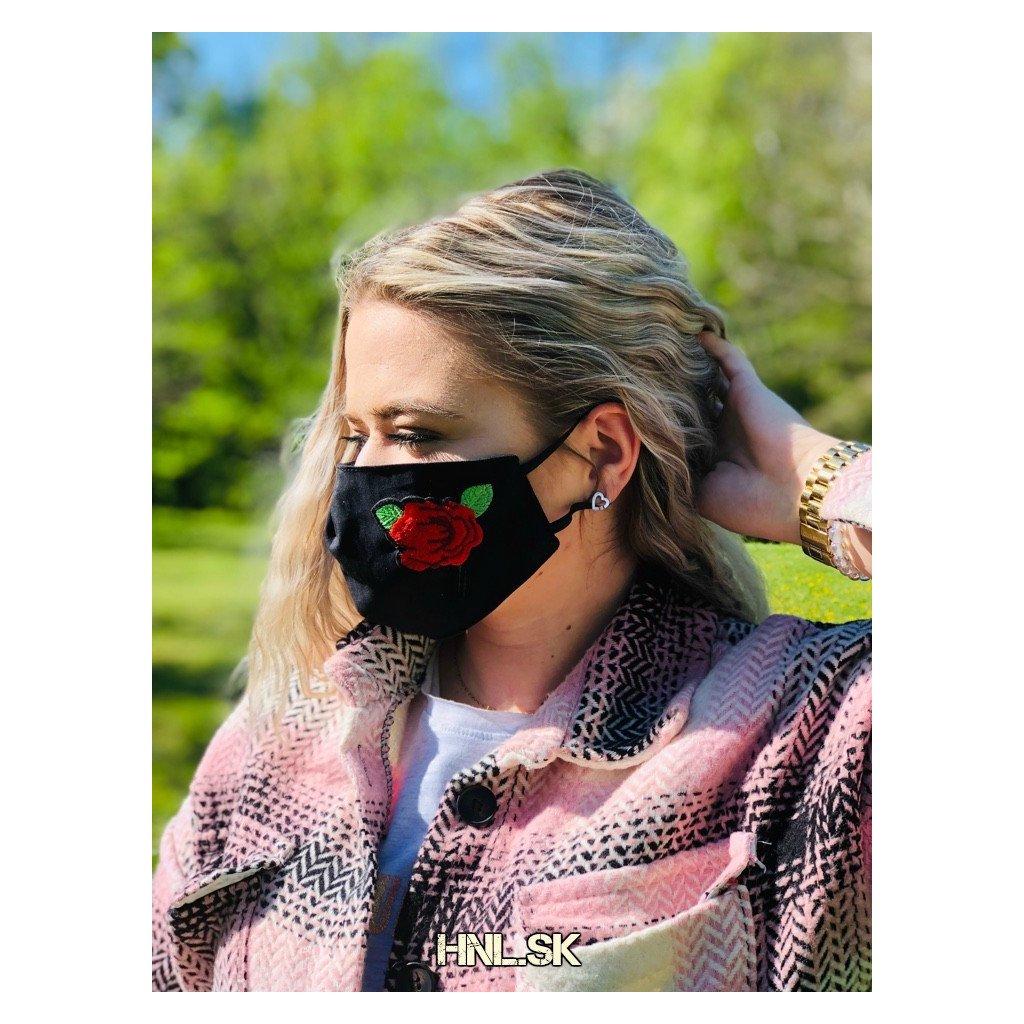 Ochranné rúško z dvoch vrstiev 100% bavlny s Ružou