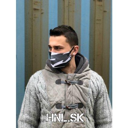 Ochranné rúško z dvoch vrstiev 100% bavlny - Army Grey