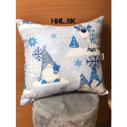 Vianočný vankúš Škriatok modrý