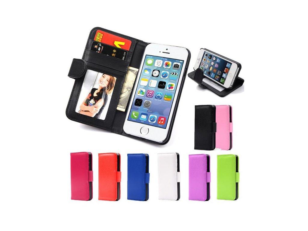 PU kožené flip pouzdro peněženka pro Iphone 5 5S > varianta černá  + textilní rouška ke každé objednávce zdarma