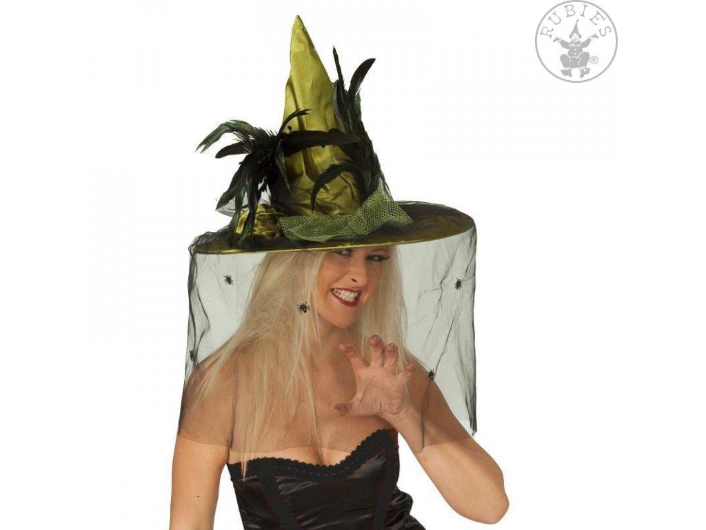 Čarodějnický klobouk zelený Deluxe D  dámský elegantní klobouk nejen pro čarodějnice