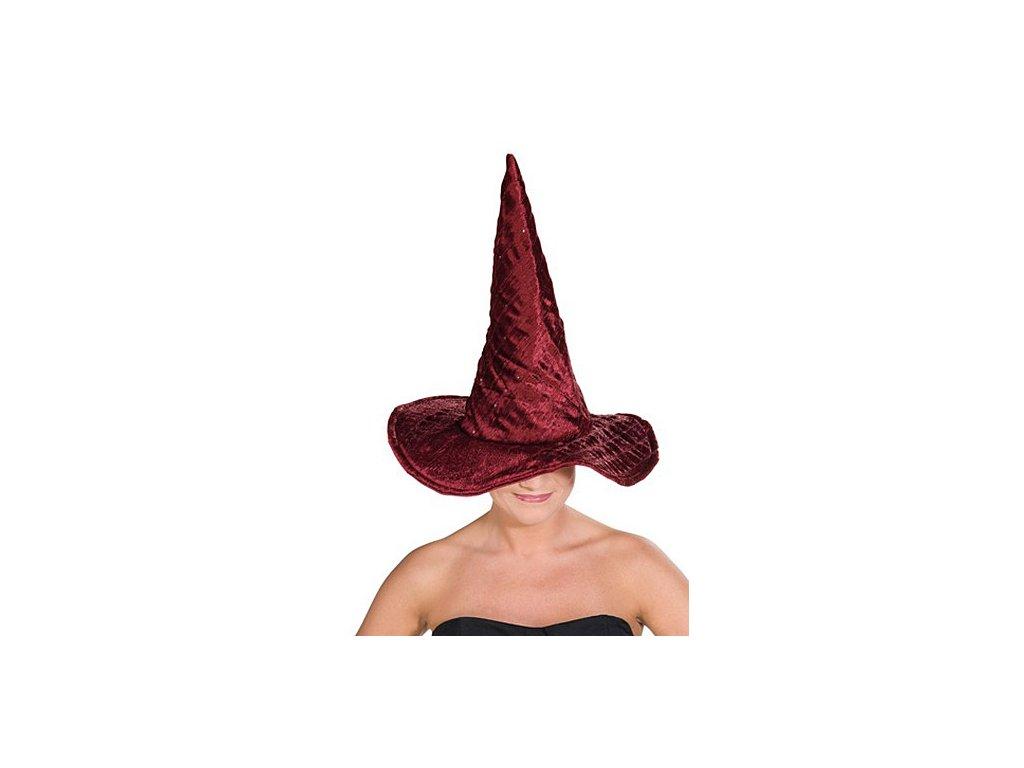 Čarodějnický klobouk vínový lux D  dámský elegantní klobouk nejen pro čarodějnice