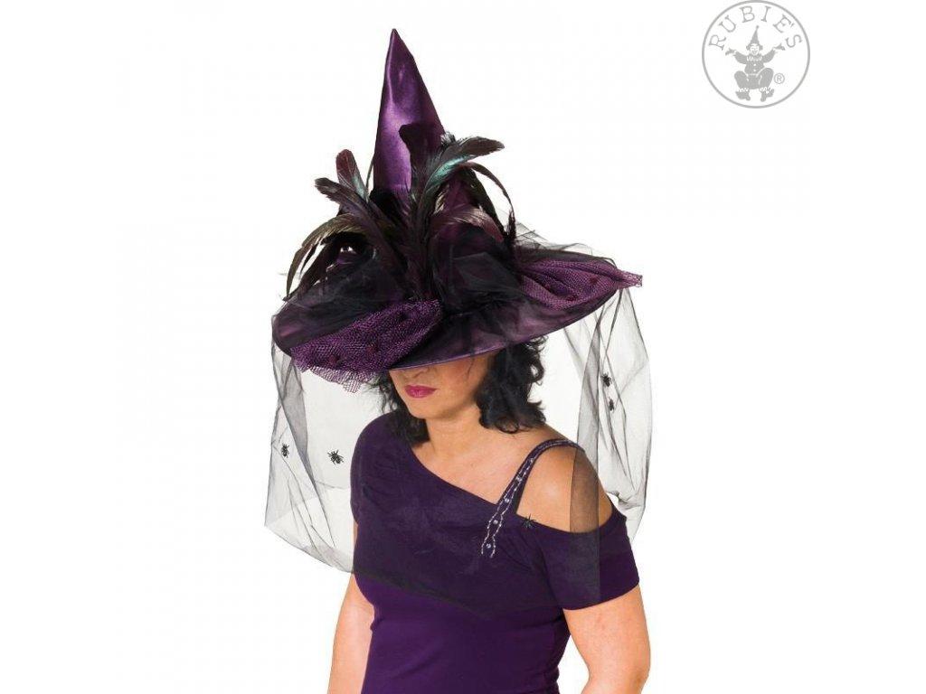 Čarodějnický klobouk fialový Deluxe  dámský klobouk pro čarodějnice