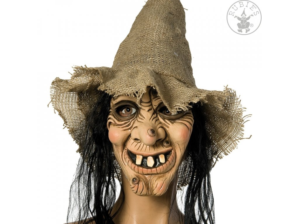 Maska čarodějnice + klobouk s vlasy D
