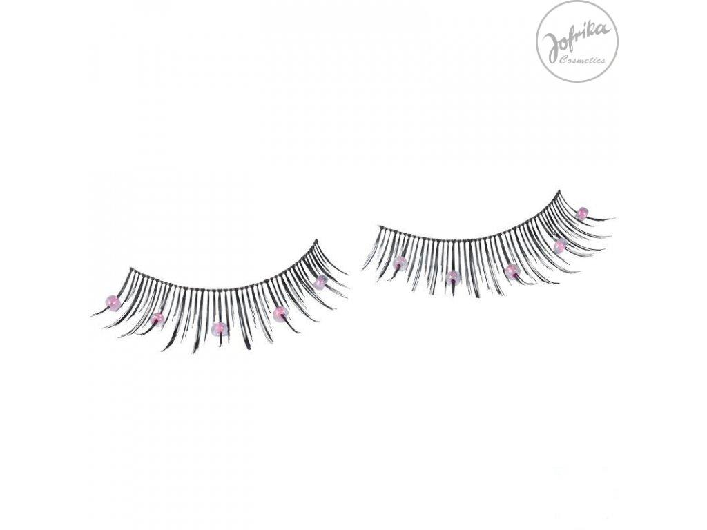 Řasy s perličkami - růžové 18081 - D
