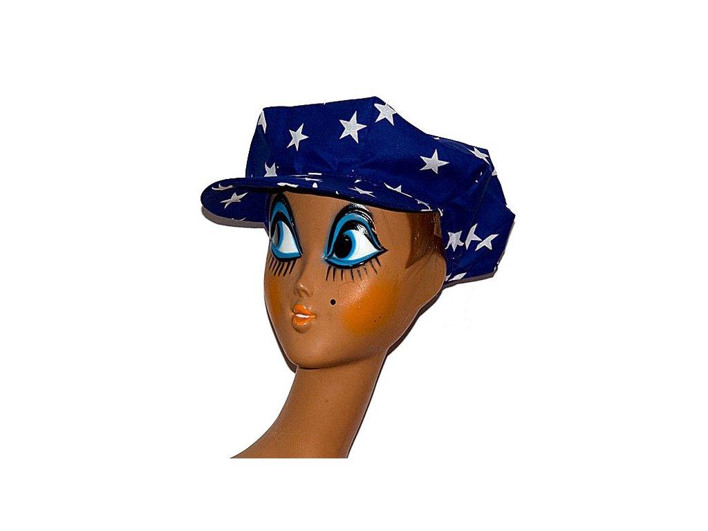 Bavlněná čepice modrá s hvězdami  D