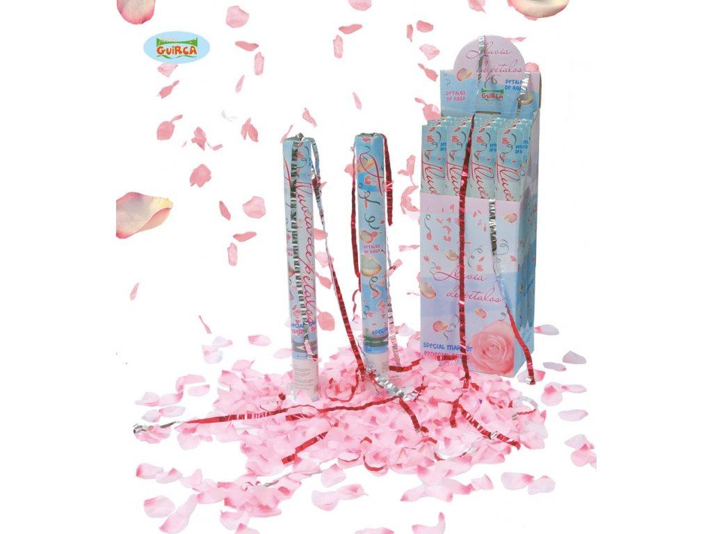 Vystřelovací konfety růžové 50 cm 6924