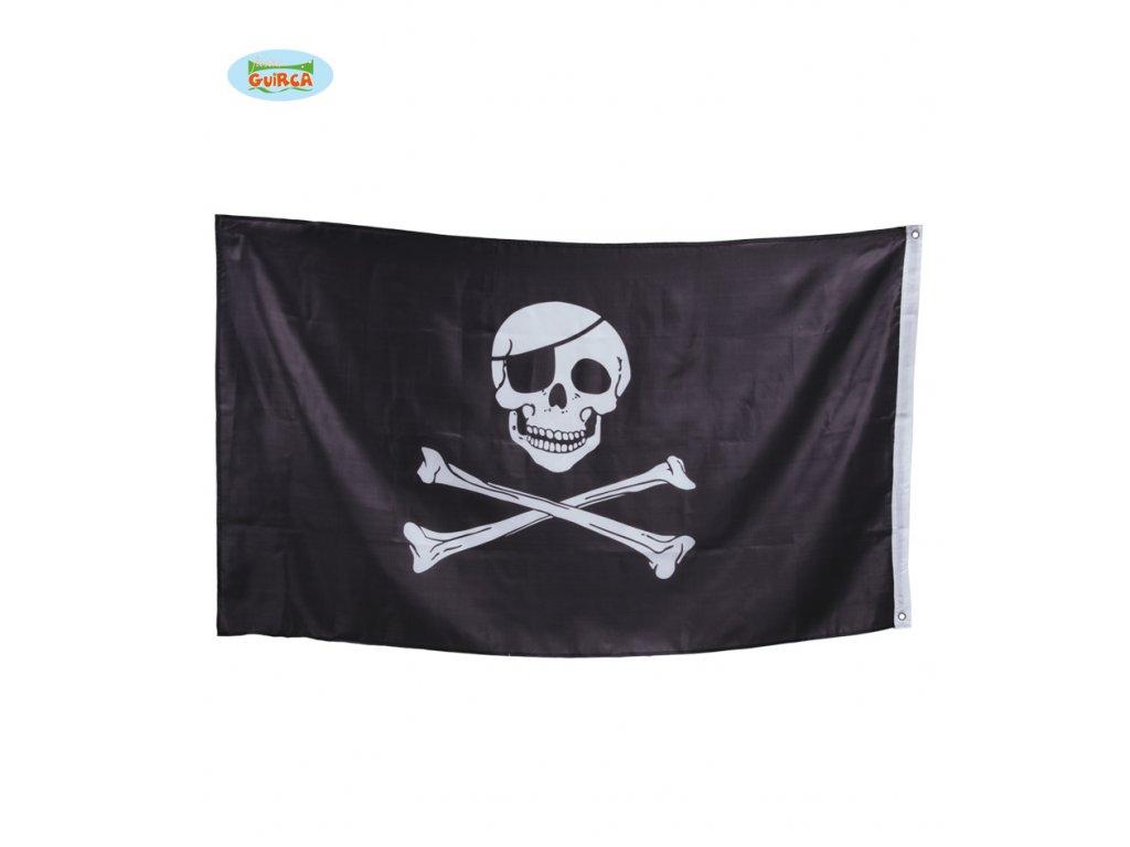 Vlajka pirátská 90 x 150 cm (č/b)