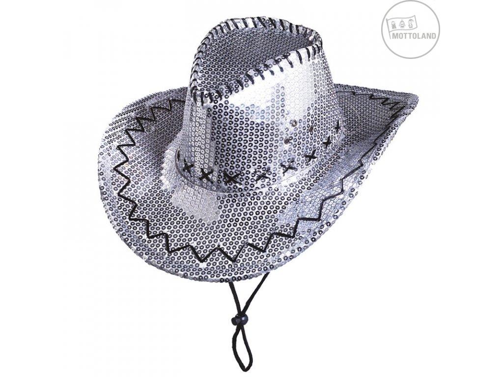 Flitrový kovboj stříbrný