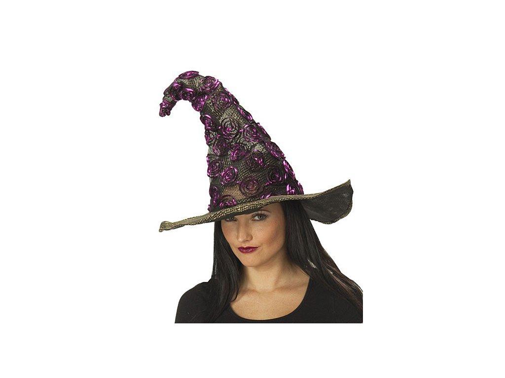 Čarodějnický klobouk černo-fialový D  dámský elegantní klobouk vhodný nejen pro čarodějnice