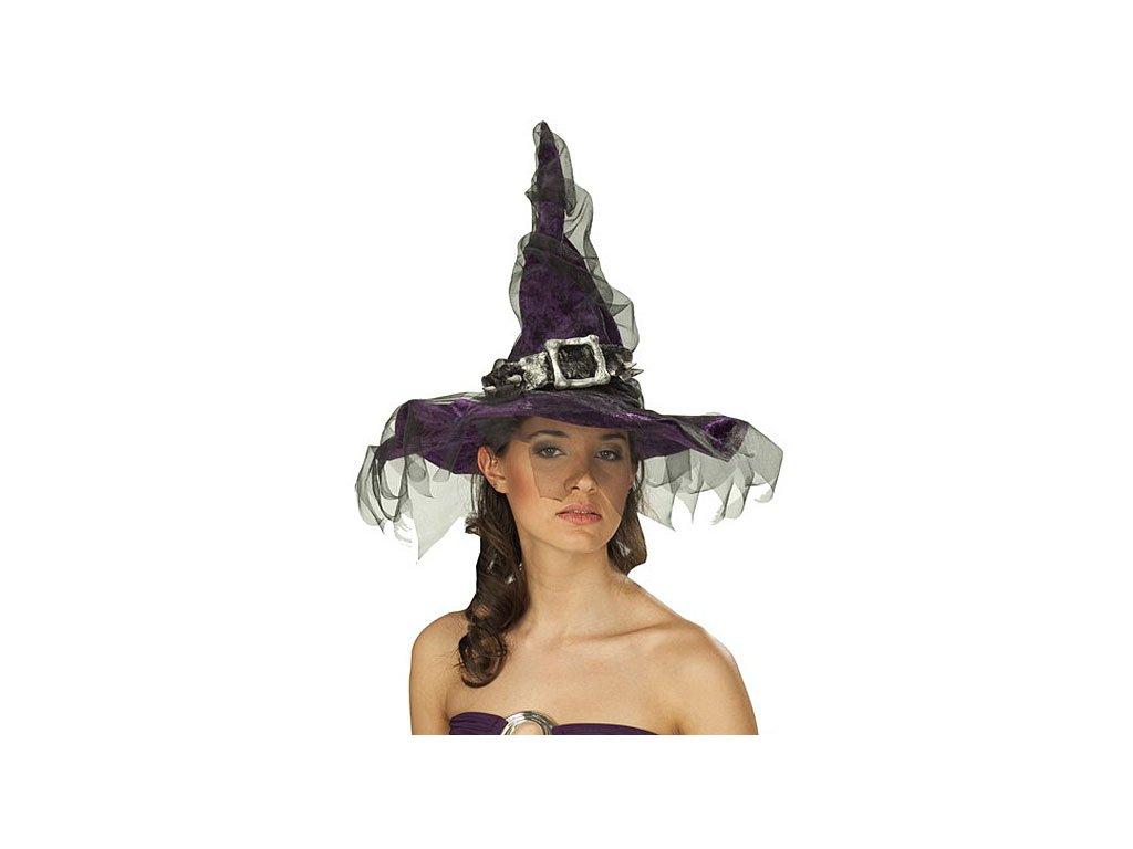 Čarodějnice s tylem a sponou D  dámský elegantní klobouk