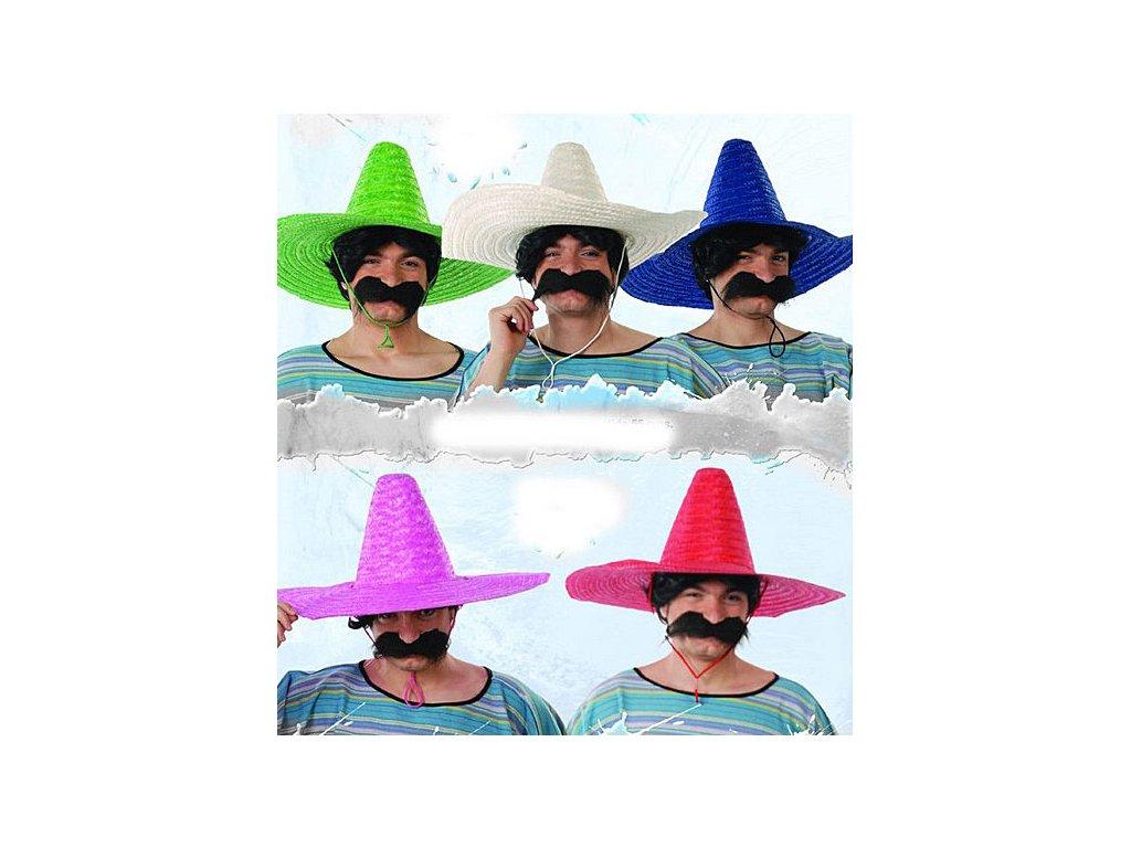 Mexický klobouk slaměný jednobarevný (mix) D
