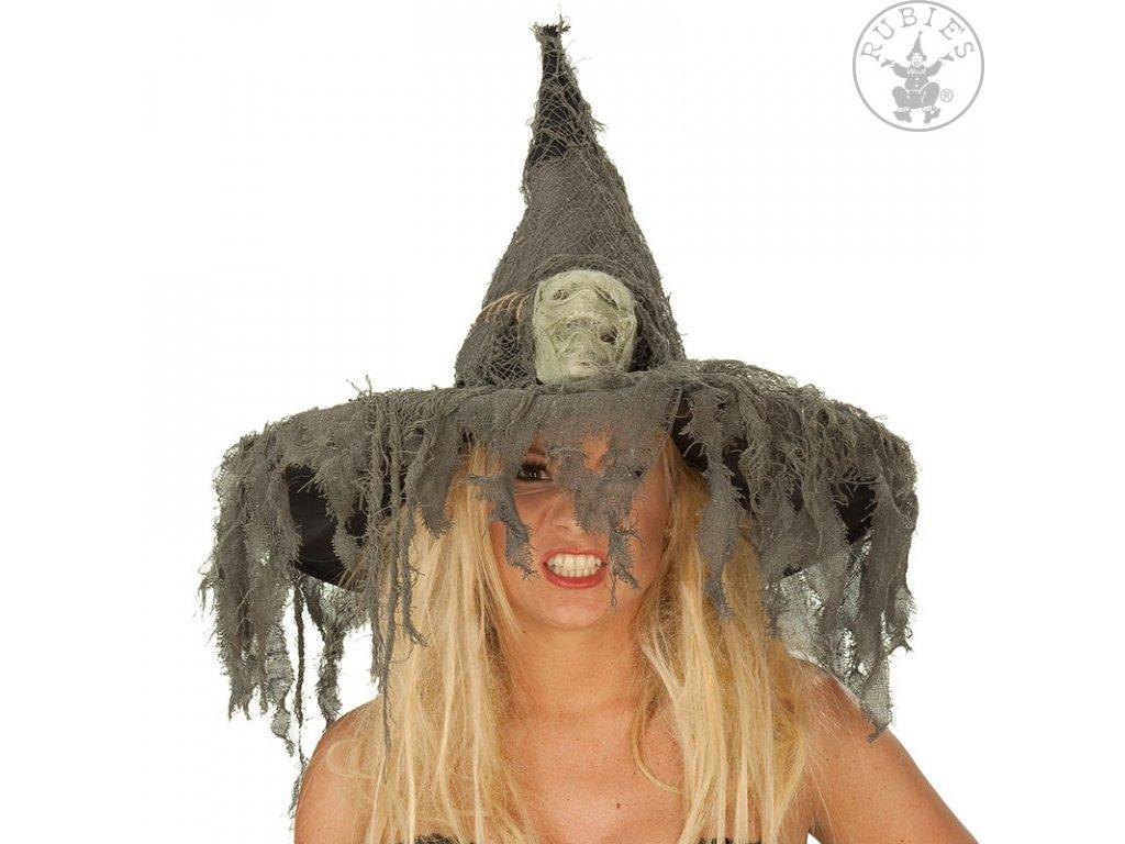Čarodějnický klobouk s lebkou D  dámský strašidelný klobouk vhodný na Halloween i čarodějnice