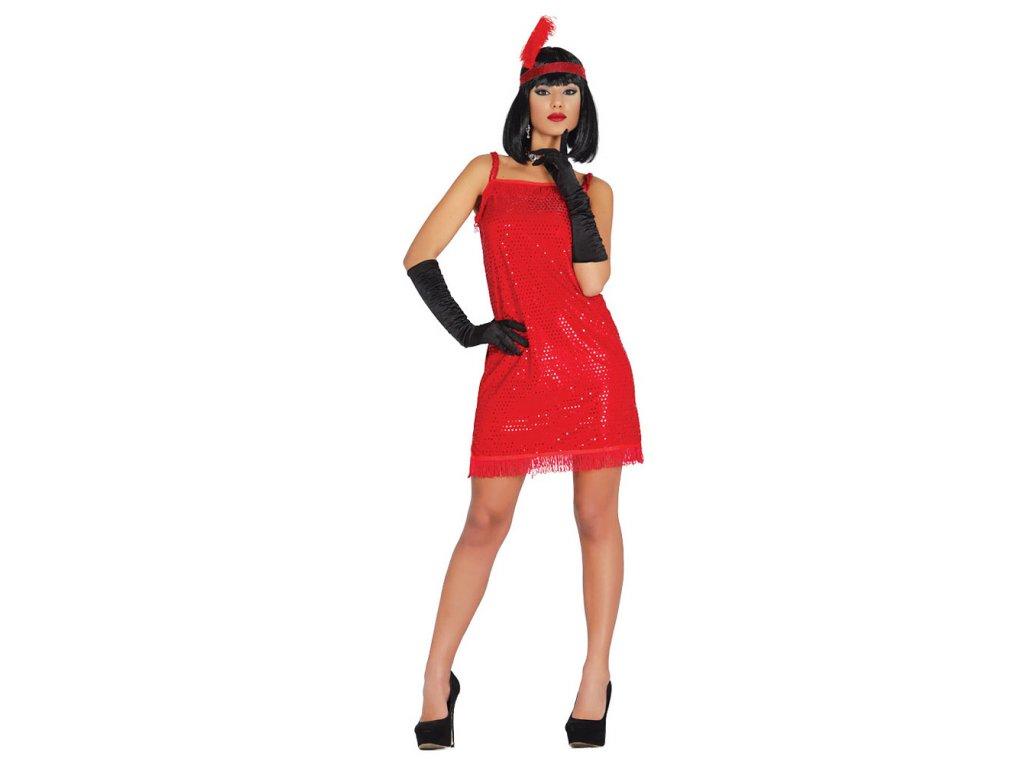 Charleston šaty červené D  dámský karnevalový kostým