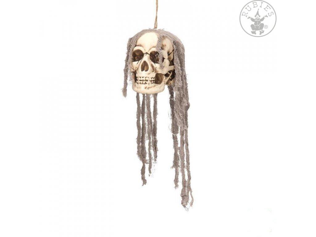 "Dekorace - závěsná lebka s ""vlasy""  závěsná dekorace Halloween"